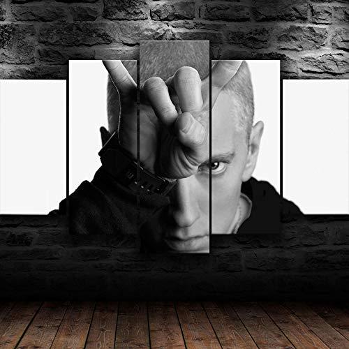 Impresión En Lienzo 5 Piezas Cuadro Sobre Lienzo,5 Piezas Cuadro En Lienzo,5 Piezas Lienzo Decorativo,5 Piezas Lienzo Pintura Mural,Regalo,Decoración Hogareña Eminem American Rapper Monochrome