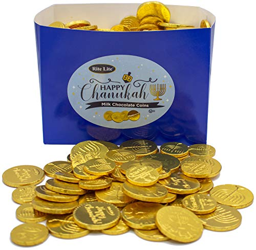 MADE IN Israel Individually Foil-Wrapped Hanukkah Chocolate Gelt - Milk Chocolate Coins OU-Certified (Assorted - 2 lb in mesh sacks)
