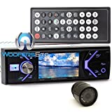 pkg Power Acoustik PD-348B In-Dash 1-DIN 3.4' LCD DVD Reciever with Bluetooth 4.0 + XO Vision Backup Camera with Nightvision
