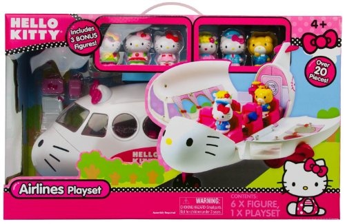 Hello Kitty Airlines Playset Includes 3 Bonus Figures with Over 20 Pieces