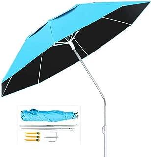 WW-outdoor product Steel Parasol Garden Patio Umbrella Lightweight Crank Wind Up Sunshade Tilt Function 2.4m Blue