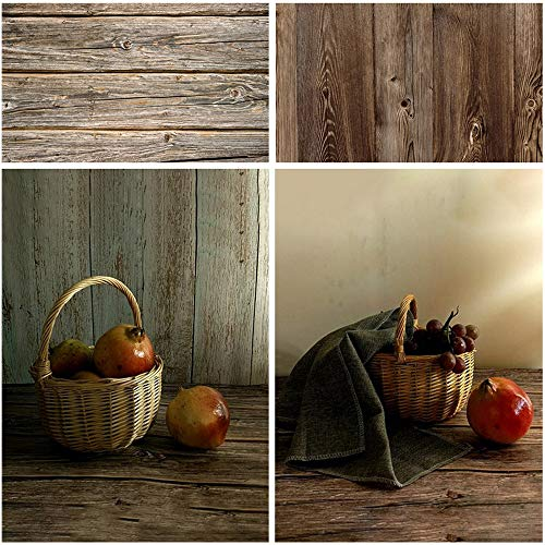 Meking 34x22in Double Sided Brown Wood Photography Backdrop Background Paper for Product, Flat Lay & Food Photo Shooting Tabletop Props