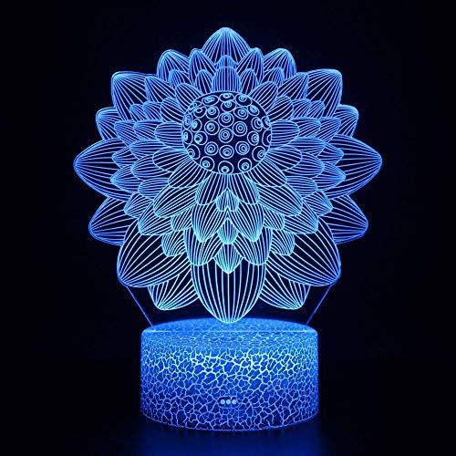 Luz de noche 3D con diseño de flores y luz mágica con control remoto que cambia de color, el mejor regalo creativo para niños