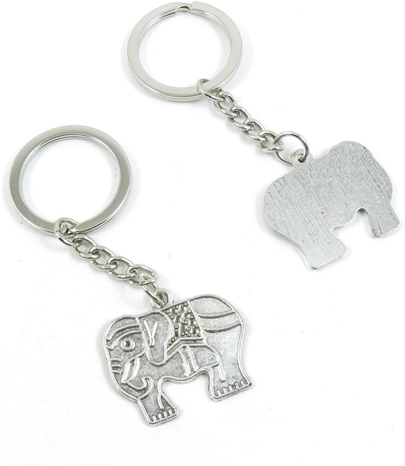 100 Pieces Keychain Keyring Door Car Key Chain Ring Tag Charms Bulk Supply Jewelry Making Clasp Findings X2ZV2X Thai Elephant
