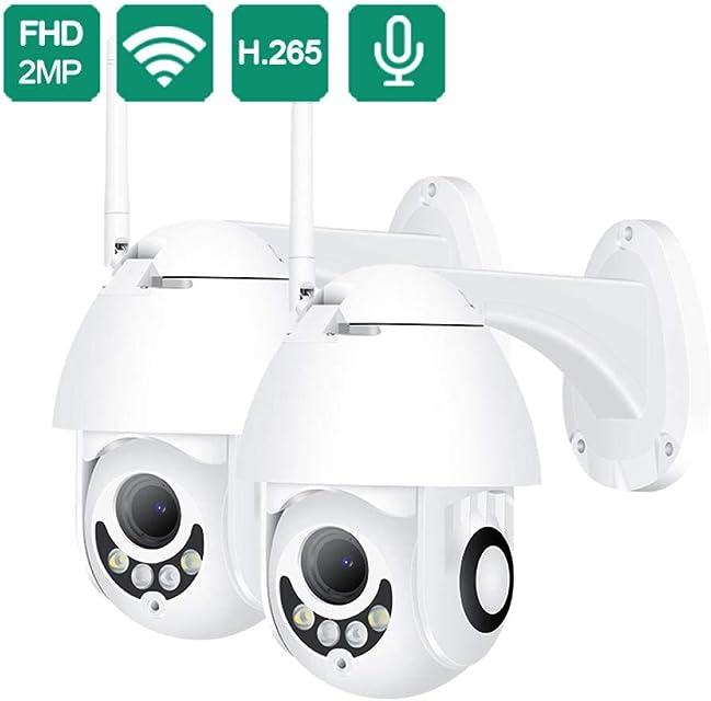 Cámara IP inalámbrica HD 1080P Cámara de Seguridad de Domo WiFi PTZ de 2MP Cámara de Seguridad de Audio bidireccional Cámara para Exteriores Vigilancia CCTV ONVIF @ 1X_1080P_32GB_Card
