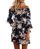 YOINS Damen Sommerkleider Lange Ärmel Schulterfrei Eelegant Sexy Blumenmuster Kurzes Strandkleid blau XL/EU46,XL/EU46,Blau