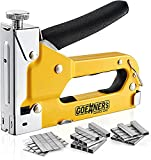 GOEHNER's Staple Gun - Heavy Duty Stapler 3 in 1 with 3000 Staples Include D, U and T-Type, Upholstery Stapler with Rubber Grip, Staple Gun for Wood, Upholstery, Crafts and DIY Decoration