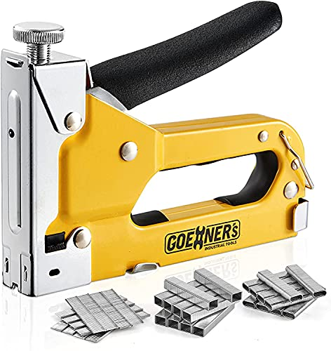 GOEHNER s Staple Gun - Heavy Duty Stapler 3 in 1 with 3000 Staples Include D, U and T-Type, Upholstery Stapler with Rubber Grip, Staple Gun for Wood, Upholstery, Crafts and DIY Decoration