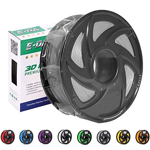 E-DA Premium quality ABS 3D printer filament 1.75mm 1KG/2.2lbs suitable for Most 3D printers (Silver)
