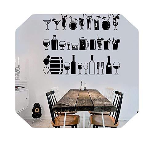 Spielzimmer Wände Aufkleber | Kunst Wandbild Wein Thema Weingut Dekor Aufkleber Home Abnehmbar Moderne Kleber Aufkleber Glas Bar Getränkeladen Vinyl Wandaufkleber-H622 Schwarz-42x34cm