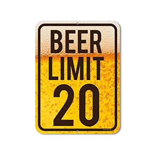Honey Dew Gifts Funny Signs, Beer Limit 20-9 inch by 12 inch Metal Bar Decor and Accessories, Made in USA