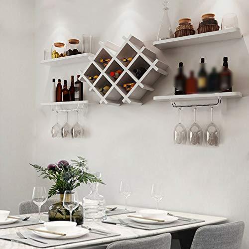 5 pezzi portabottiglie da parete, portabottiglie in legno, portabottiglie da parete, portabottiglie di vino, portabottiglie da parete, bianco