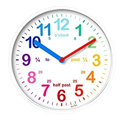 20cm diameter, Available in: Pink, White or Blue , Time teaching wall clock