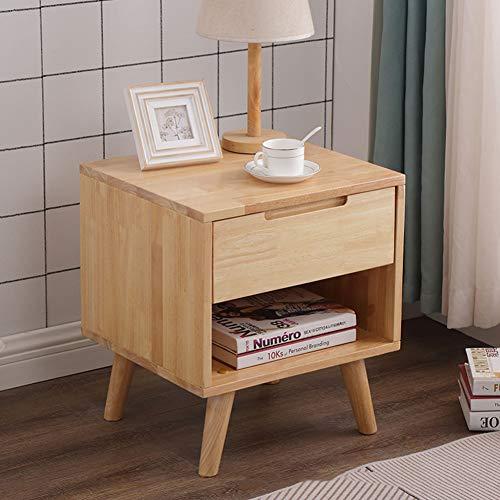 QLIGHA Mueble de Noche Moderno de Madera de Caucho Minimalista gabinete de Almacenamiento Integrado con cajón Dormitorio Sala de Estar
