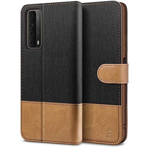 BEZ Handyhülle für Huawei P Smart 2021 Hülle, Tasche Kompatibel für Huawei P Smart 2021, Schutzhüllen aus Klappetui mit Kreditkartenhaltern, Ständer, Magnetverschluss, Schwarz