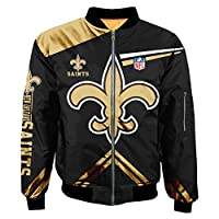Football NFL Super Bowl Champions Jackets Mens Autumn Winter Outdoor Sports Big Size Outerwear Coats (New Orleans Saints,L)
