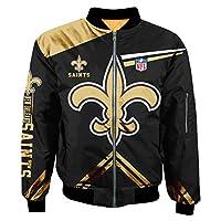 Football NFL Super Bowl Champions Jackets Mens Autumn Winter Outdoor Sports Big Size Outerwear Coats (New Orleans Saints,L)