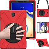 Samsung Galaxy Tab S4 10.5 Case, BRAECN [Portable Shoulder Strap][Adjustable Handle Grip][Rototating Kickstand] Heavy Duty Shockproof Rugged Case for Galaxy Tab S4 10.5 Tablet SM-T830/T835/T837 (RED)