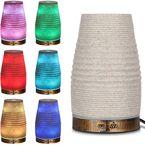 AIGOCEER Essential Oil Diffuser, Natural Sandstone Appearance, 120ml Ultrasonic Aromatherapy Diffuser with 7 Color Lights, Cool Mist Humidifier, Waterless Auto Shut-Off for Bedroom Office Baby Home…