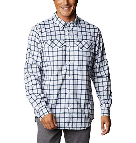 Columbia Men's Silver Ridge Lite Plaid Long Sleeve Shirt, Quick Dry, Sun Protection, Bright Indigo Small Grid, X-Large