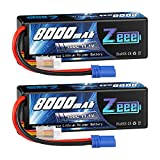 Zeee 11.1V Lipo Battery 3S 100C 8000mAh Hard Case Battery with EC5 Plug for 1/8 1/10 RC Car Model Traxxas Slash Buggy Team Associated(2 Packs)