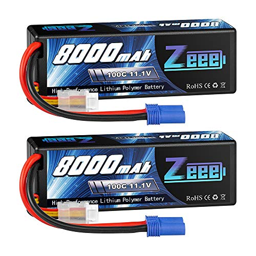 Zeee 11.1V Lipo Battery 3S 100C 8000mAh Hard Case Battery with EC5 Plug for 1/8 1/10 RC Car Model Truggy Buggy Team Associated(2 Pack)