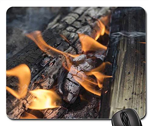 25X30cm Maus Matte Mauspad - Lagerfeuer Brennholz Feuer Holzbrand Hitze Natur