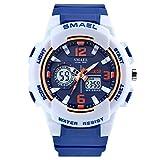 SMAEL Women's Sport Wrist Watch Quartz Dual Movement with Analog-Digital Display Watches for Women (Blue)