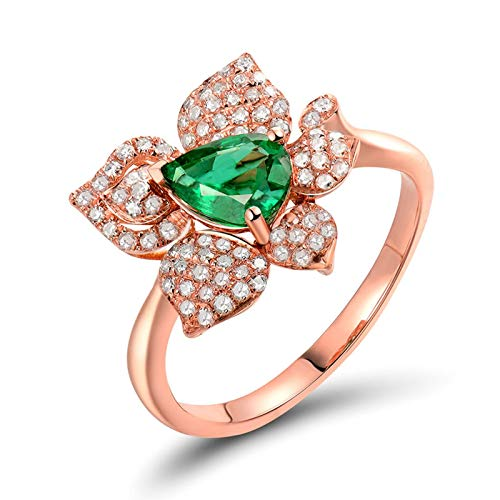 Bishilin Rose Gold Ring 750 Real, 0.47Ct Emerald Flower and Pear Shape with 0.34Ct Diamond Ring Bands for Women Engagement Ring Bands Anniversary for Birthday Christmas Rose Gold Size: 6.5