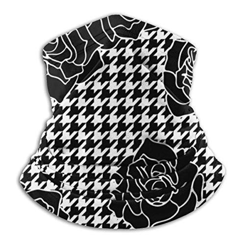 Dydan Tne Calentador de Cuello Rosas Negro Pata de Gallo Cuadros Polaina de Cuello Tubo Calentador de Orejas Diadema Bufanda Mascarilla pasamontañas