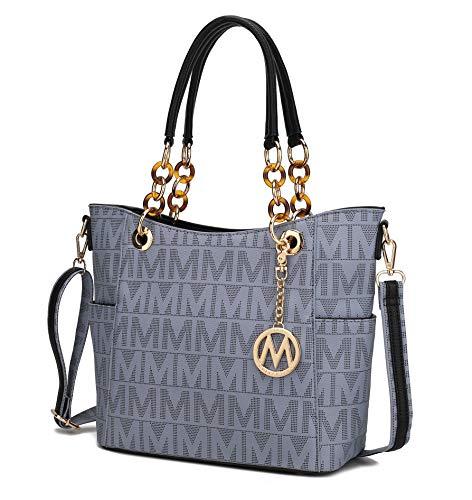 MKF Collection Shoulder Bag for Women, PU Leather Pocketbook Top-Handle Crossbody Purse Tote Satchel Handbag Grey