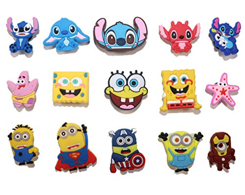 15 pcs Cartoon Shoe Charms PVC, for shoes with holes & bands & Shoes & Bracelet Wristband Kids Party Birthday Gifts, halloween treats, treasure, cute decoration for shoes, Christmas gift for kids