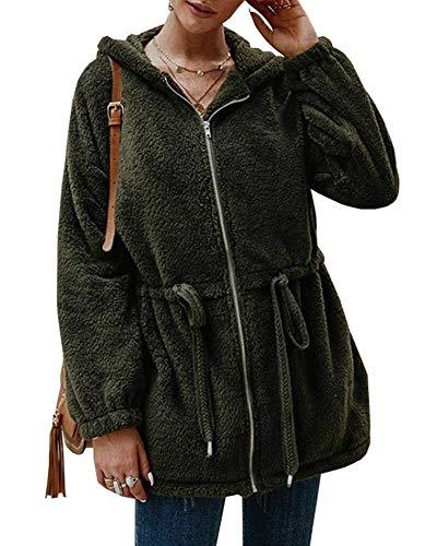 Imily Bela Chaqueta de invierno de forro polar Sherpa, con capucha, larga, felpa, con cordón, sudadera con capucha Verde militar S