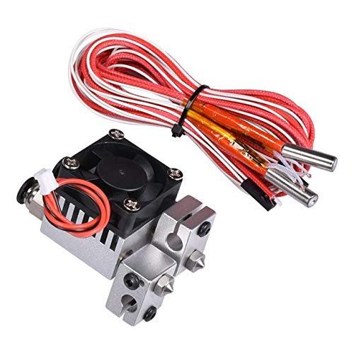 Drucker Teile 2 In 2 Out fit for Chimera Hotend Dual Color 1,75 mm Filament V6 Düse Multi-Extrusions 3D-Druckerteile Alle Metall fit for Bowden Extruder Heizung (Color : Silver)