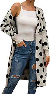Womens Polka Dot Print Long Sleeve Open Front Sweater Cardigan Knitwear Coat