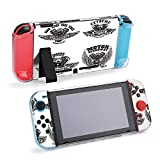 SUPNON Biker Emblem with Winged Motorcycle Engines Protective Case Compatible with Nintendo Switch Soft Slim Grip Cover Shell for Console & Joy-Con with Screen Protector, Thumb Grips Design25237