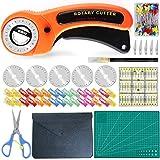 KwuLee Juego de cortadores rotativos, Juego de cortadores de Tela de 45 mm, Incluye 5 Hojas de Repuesto, tapete de Corte, Tijeras, Clips para Tela, Aguja Recta, Accesorios de Costura con Regla