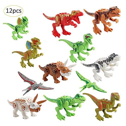 Motto.H 12 PCS Bloques de construcción de Dinosaurios, Juegos de Juguetes con Figuras de Dinosaurios para niños, Juegos de construcción de Juegos de Animales de Mini Dinosaurios Kits educativos para