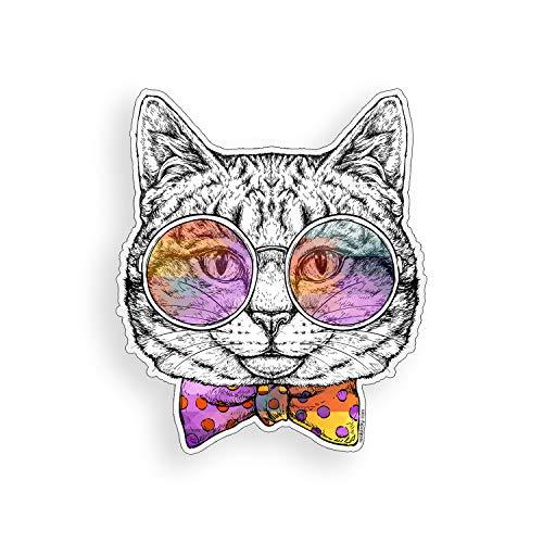 Muurkunst Kat Sticker Bow Tie Zonnebril Op maat bedrukte Die Gesneden Vinyl Decal Laptop Cup Auto Window Bumper Graphic gemakkelijk aan te brengen