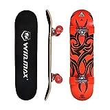 WIN.MAX Skateboard Completo para Adultos y Niños ABEC-7, 9 Capas de Madera de Arce Monopatin 31 Inch, Skateboard para Principiantes y Profesionales, Etnic-RD