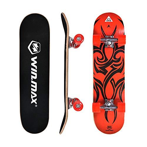 WIN.MAX Skateboard,Completo Double Kick Concave Bambino e Adulto, 4 Cuscinetti ABEC-7 Ideale per Principianti e Professionisti, Etnic-RD