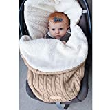 Baby Gestrickter Wickelsack für Kinderwagen, Autositz, Schlafsack, universeller Baby-Fußsack, Einlage für Kinderwagen, Buggy, Kinderwagen, gemütliche Zehen, Autositz