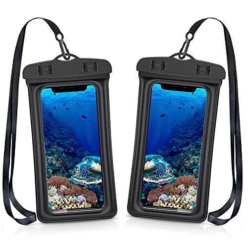 Funda Impermeable Móvi-2 Unidades-IPX8 Doble Sellado- Funda Impermeable Universal,Funda Agua Movil, para iPhone 11 Pro XS MAX X 8 Plus,Galaxy S10+ S9 S8 ,Huawei y más. (2X)