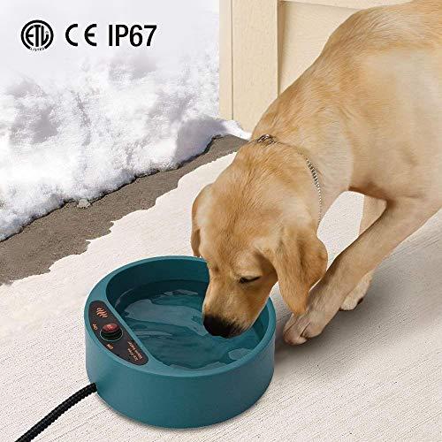 Namsan Beheizter Wassernapf für Hunde, Beheiztes Frostschutz Tränkebecken, Anti-Bite-Schlauchwickel Kabel (165cm), 2000 ML Beheizbarer Wassernapf für Hunde/Katze/Hasen/Hühner im Winter