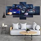 HAOQIPA 5 Piezas Cuadro sobre Lienzo De Fotos Vehículo Supra Impresión Cuadros Decoracion Salon Grandes Cuadros para Dormitorios Modernos Listo para Colgar(150x80CM)