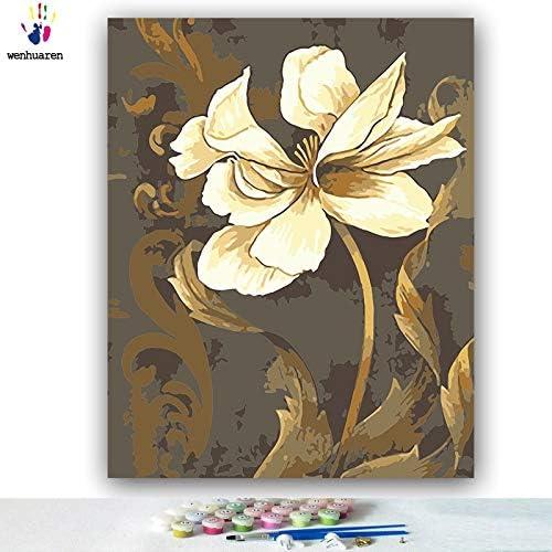 KYKDY DIY F ungen Bilder nach Zahlen mit Farben Weißr Lotus Bild Zeichnung maßen nach Zahlen gerahmt Home Dekor ZWeißtücke, 9209Right, 80x100 kein Rahmen
