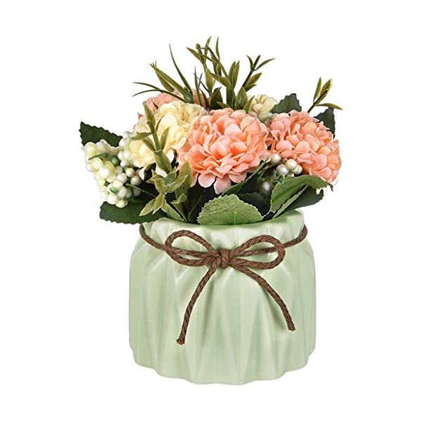 Artificial Hydrangea Bouquet with Small Ceramic Vase Fake Silk Potted Fake Variety Silk Flower Bonsai for Table Party Office Wedding Home Decor-2Pcs