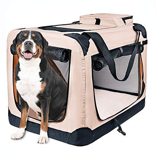 Genliloor Hundebox faltbar Hundetransportbox Transportbox - Faltbare Reisebox Katzen Hunde Auto Box Oxford Gewebe Cremeweiß 70x52x52 cm