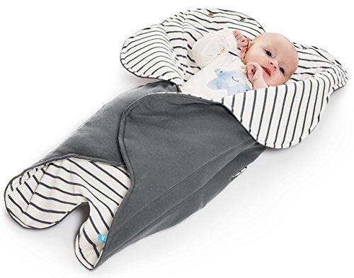 Wallaboo Einschlagdecke Fleur für Babyschale, Autokindersitz, für Kinderwagen, Suße Blumenform, 100% Baumwolle, 85 x 85 cm, 0 - 12 Monaten, Farbe: Grau - Grau Gestreift