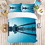 Print Bedding Set With Duvet Comforter Quilt Bedding Covers Bedding 3 Piece Duvet Cover Set Twin Full(80'x90'-20'x26'2) Apartment Decor,New York City Manhattan Skyline Panorama Monochrome Picture Mod